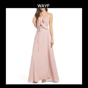 😍 Flirty WAYF XS Jamie Ruffle Wrap Gown Dress 😍